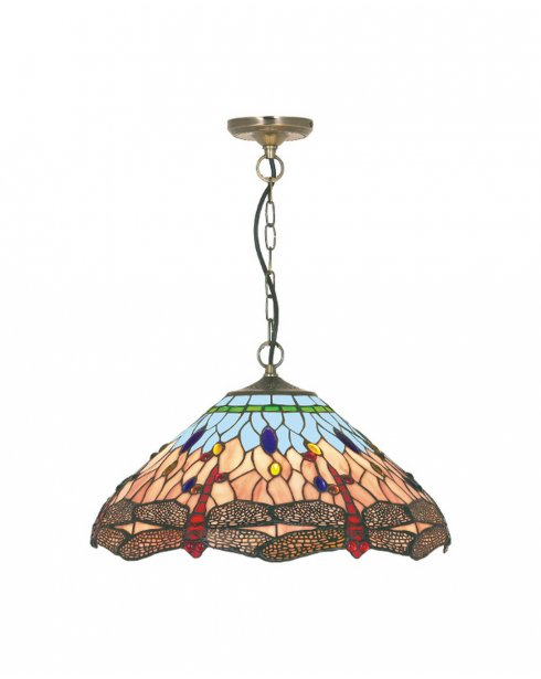 Searchlight Dragonfly Single Light Tiffany Pendant Light 1283-16