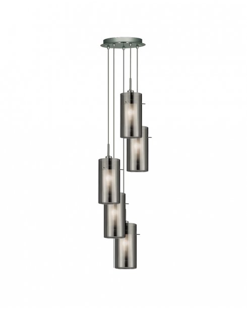 Searchlight Duo 2 5 Light Modern Pendant Light 2305-5SM