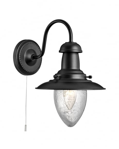 Black Ornate Wall Lights : Searchlight Fisherman Traditional Black Decorative Wall Light 5331-1BK