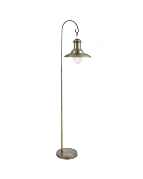 Searchlight Fisherman Traditional Brass Floor Standing Reading Lamp 6502AB