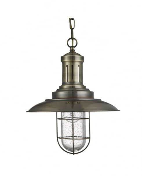 Searchlight Fisherman Traditional Brass Pendant Light 5401AB