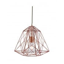Searchlight Geometric Cage Modern Copper Pendant Light 7271CU