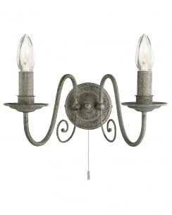 Searchlight Greythorne Traditional Steel Decorative Wall Light 3362-2GY