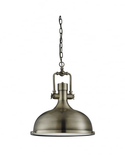 Searchlight Industrial Modern Brass Pendant Light 1322AB
