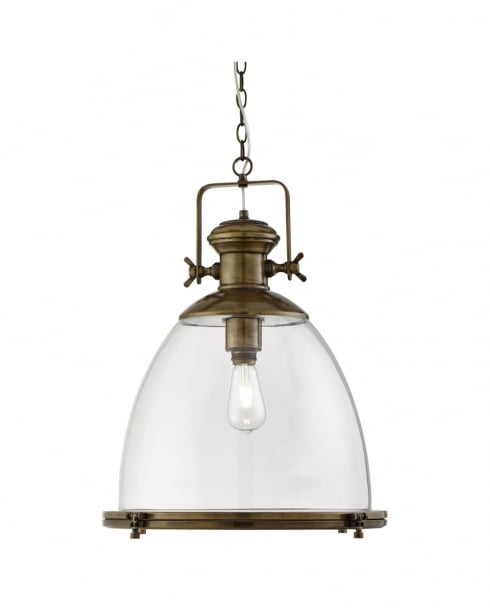 Searchlight Industrial Traditional Brass Pendant Light 6659