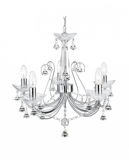 Searchlight Lafayette 5 Light Crystal Chandelier 1395-5CC