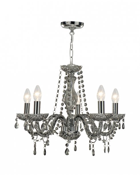 Searchlight Marie Therese 5 Light Crystal Chandelier 8695-5GY