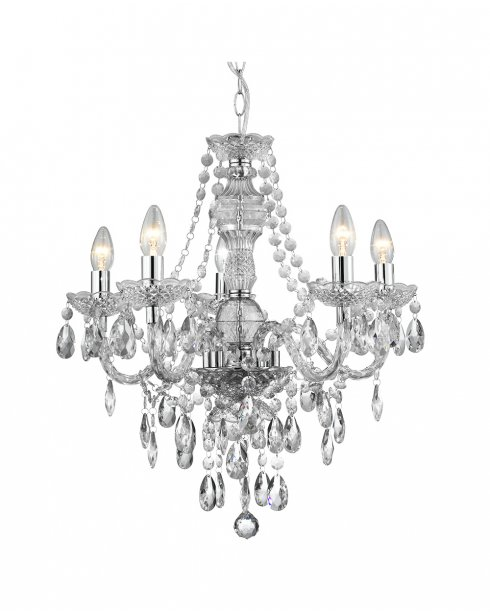 Searchlight Marie Therese 5 Light Crystal Chandelier 8885-5CL