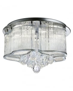 Searchlight Mela Crystal Chrome Semi-Flush Fitting 7985-48CC