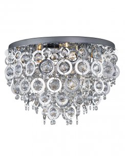 Searchlight Nova 5 Light Crystal semi-flush Ceiling Fitting 0575-5CC