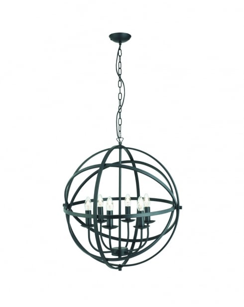 Searchlight Orbit Modern Black Pendant Light 2476-6BK