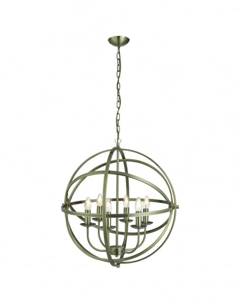 Searchlight Orbit Modern Brass Pendant Light 2476-6AB