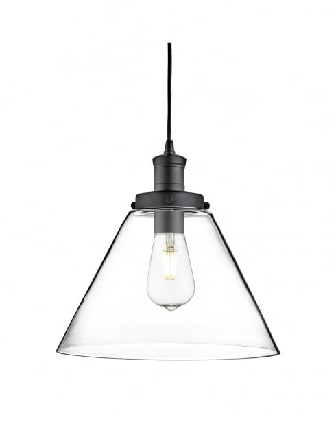 Searchlight Pyramid Modern Black Pendant Light 3228BK