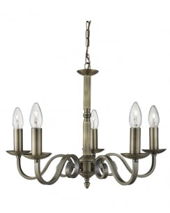 Brass searchlight chandeliers searchlight richmond traditional brass chandelier 1505 5ab aloadofball Image collections