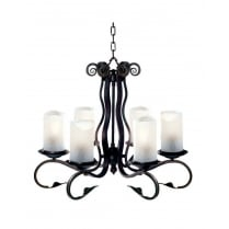 Searchlight Scroll Traditional Iron Chandelier 7916-6BK