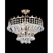 Searchlight Versailles 9 Light Crystal Semi-Flush Fitting 9113-39GO