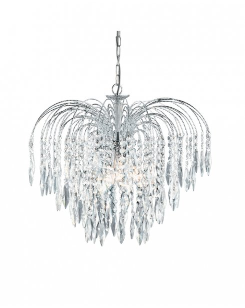 Searchlight Waterfall 5 Light Crystal Chandelier 4175-5